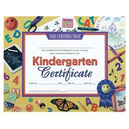 Kindergarten Certificate - School Supplies Border