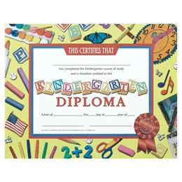 Kindergarten Diploma - School Supplies Border